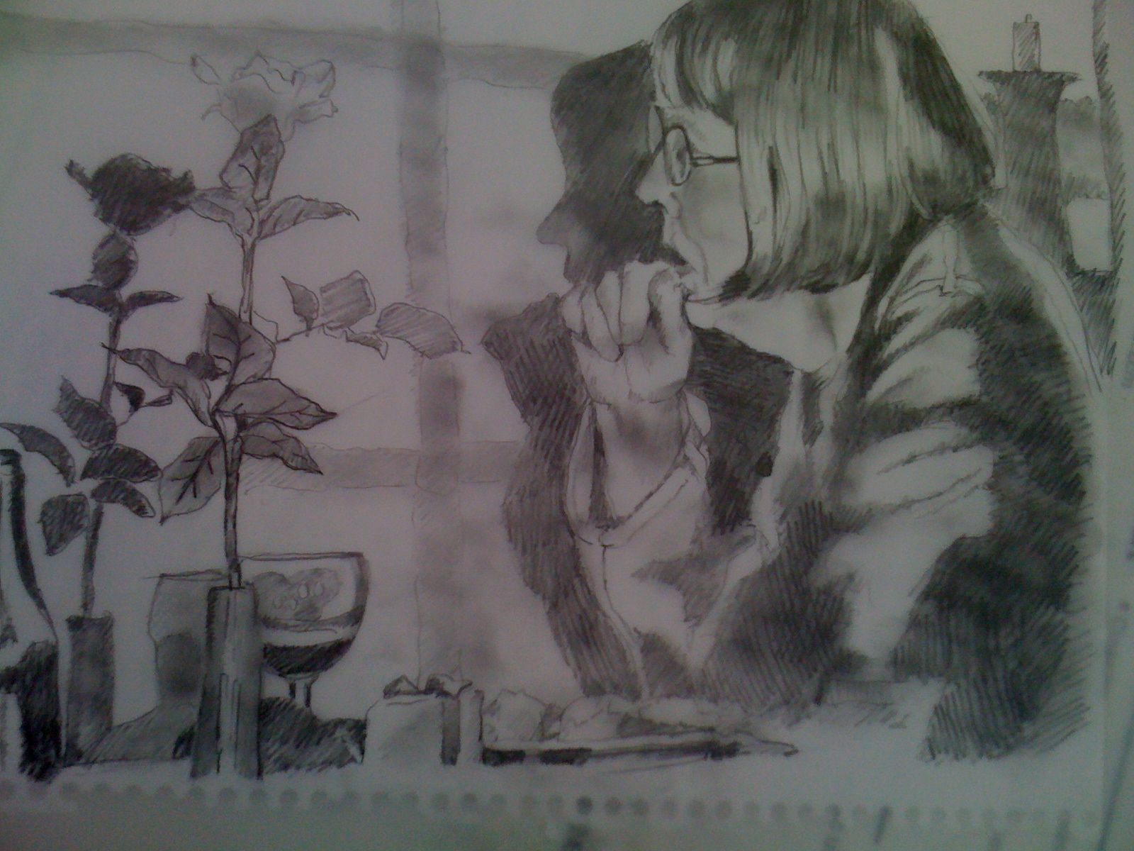 In gotland at dinner when suddenly i saw this woman alone snuck a photo and drew this later