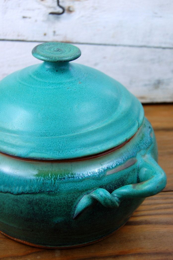 Large Two Quart Lidded Casserole in Turquoise. $92.00, via Etsy.