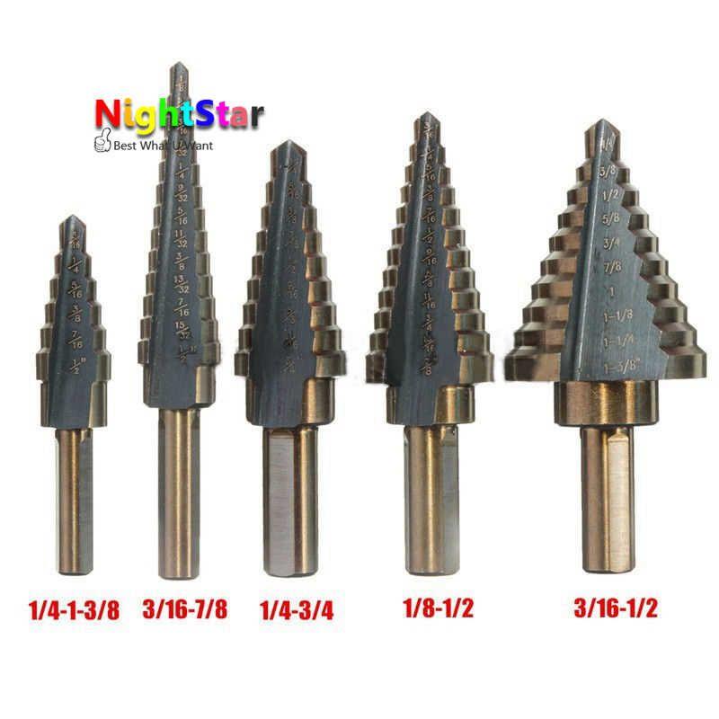 5Pcs HSS Cobalt Multiple Hole Sizes Step Drill Bits High Speed Steel Tool Set