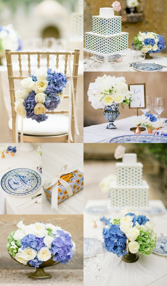 Blue and cream wedding ideas - roses and hydrangea - Romantic ...