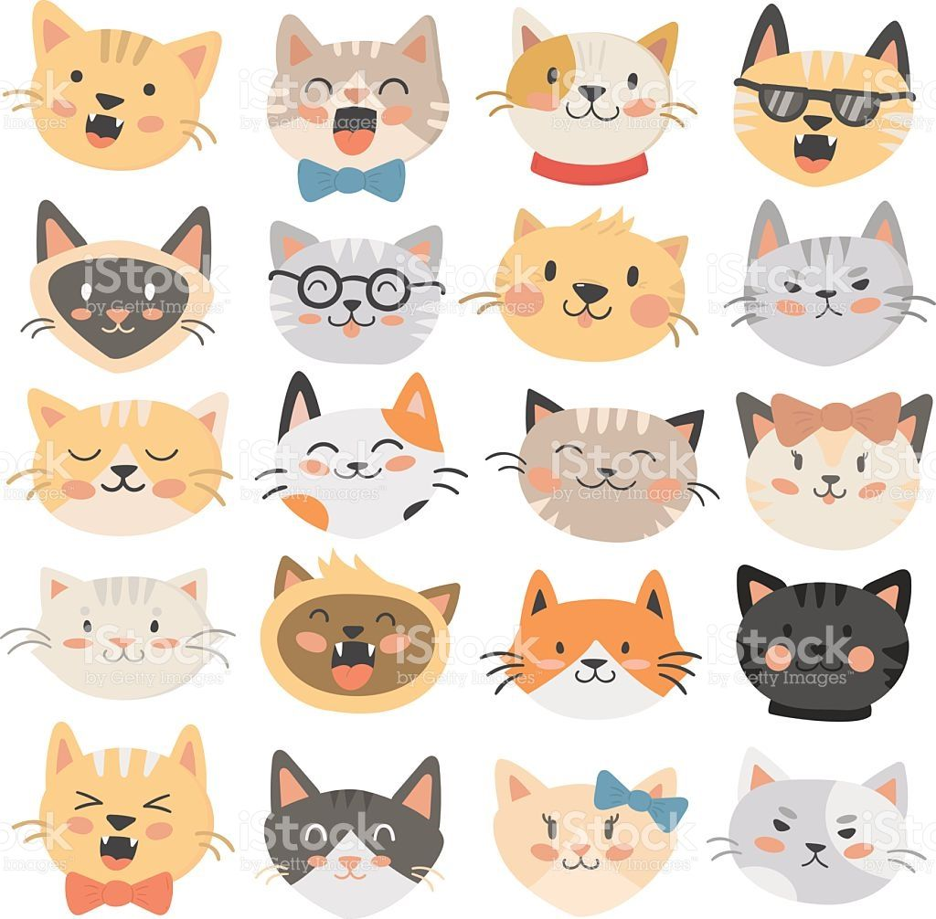 Cats Heads Emoticons Vector Royalty Free Stock Vector Art With