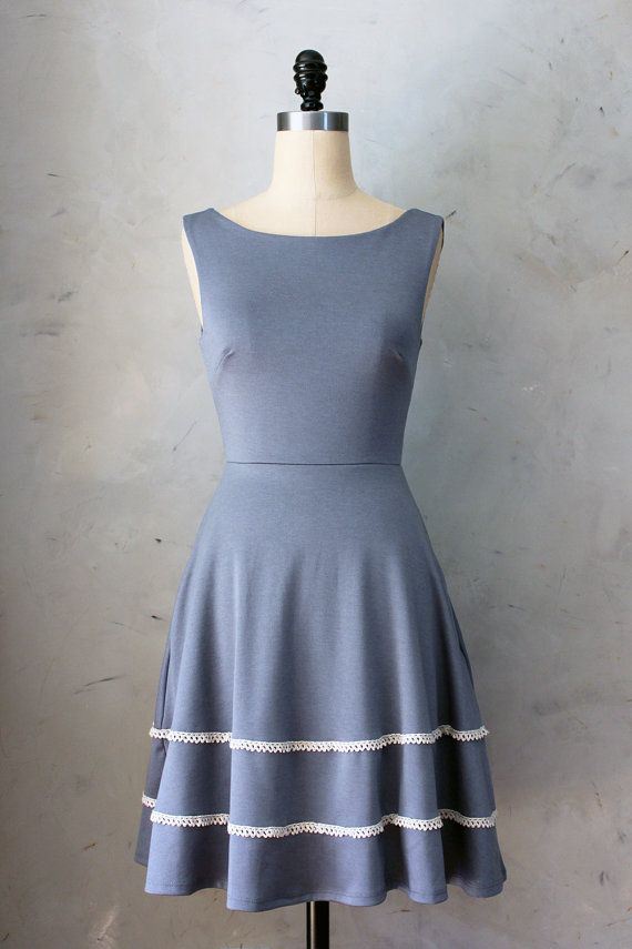 COQUETTE in GRAY - Steel gray dress with pockets // flared circle skirt // ivory crochet // bridesmaid dress // vintage inspired