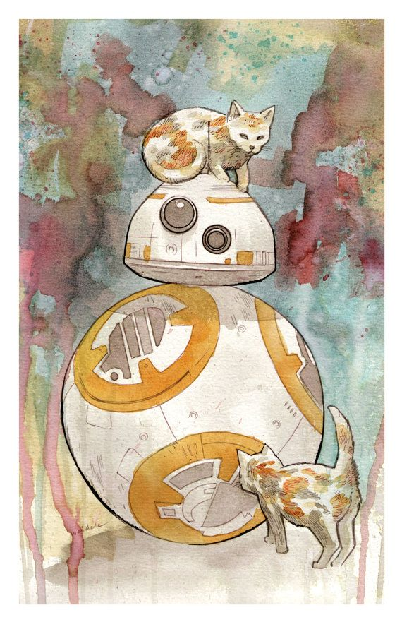 BB-8 with Cats art print 11x17 BRETT WELDELE by brettweldele