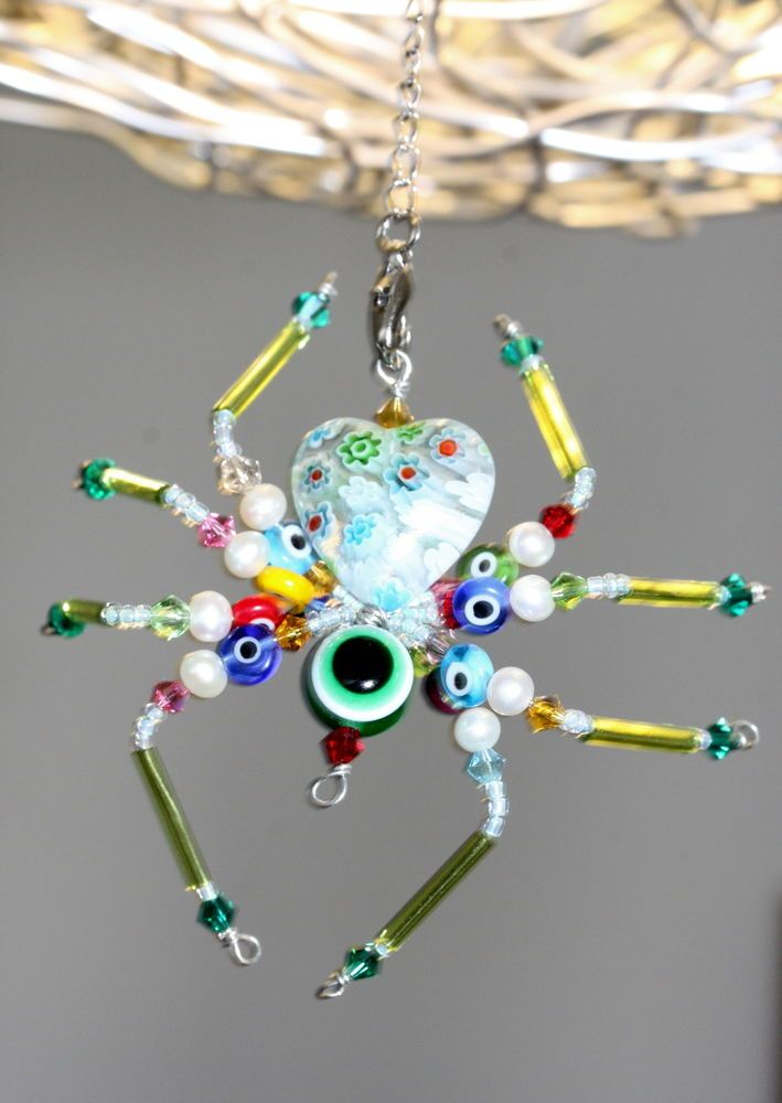 Details about Beaded Spider Décor - Green Eyes Flower Spider ...