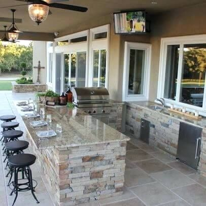Elegant Outdoor Patio Kitchen And Patio Kitchen With Bar Sink And Mini Fridge 15 Outdoor Patio Kitchen Images. #kitchen #cabinet #cookingroom