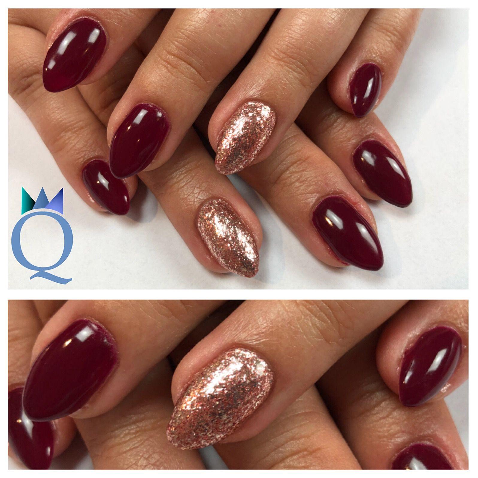 almondnails #gelnails #nails #red #rosegold #glitter #mandelform ...
