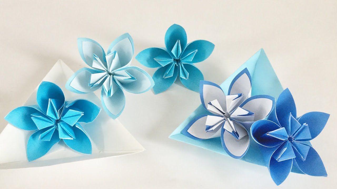 2 Origami Flower Youtube Flores E