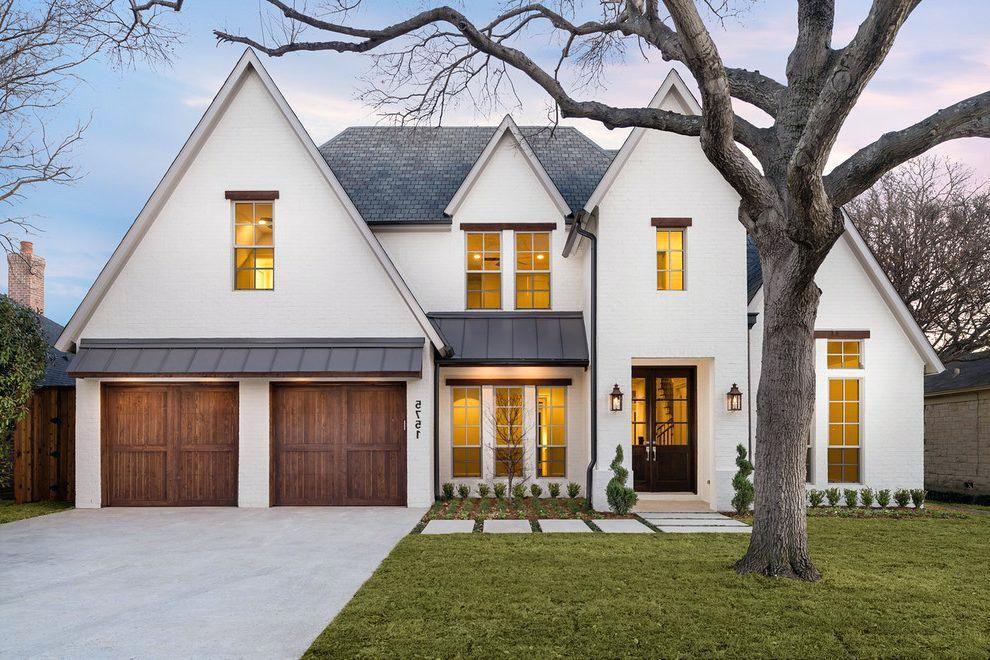 Transitional Style Homes Exterior Striking Custom Home Garage