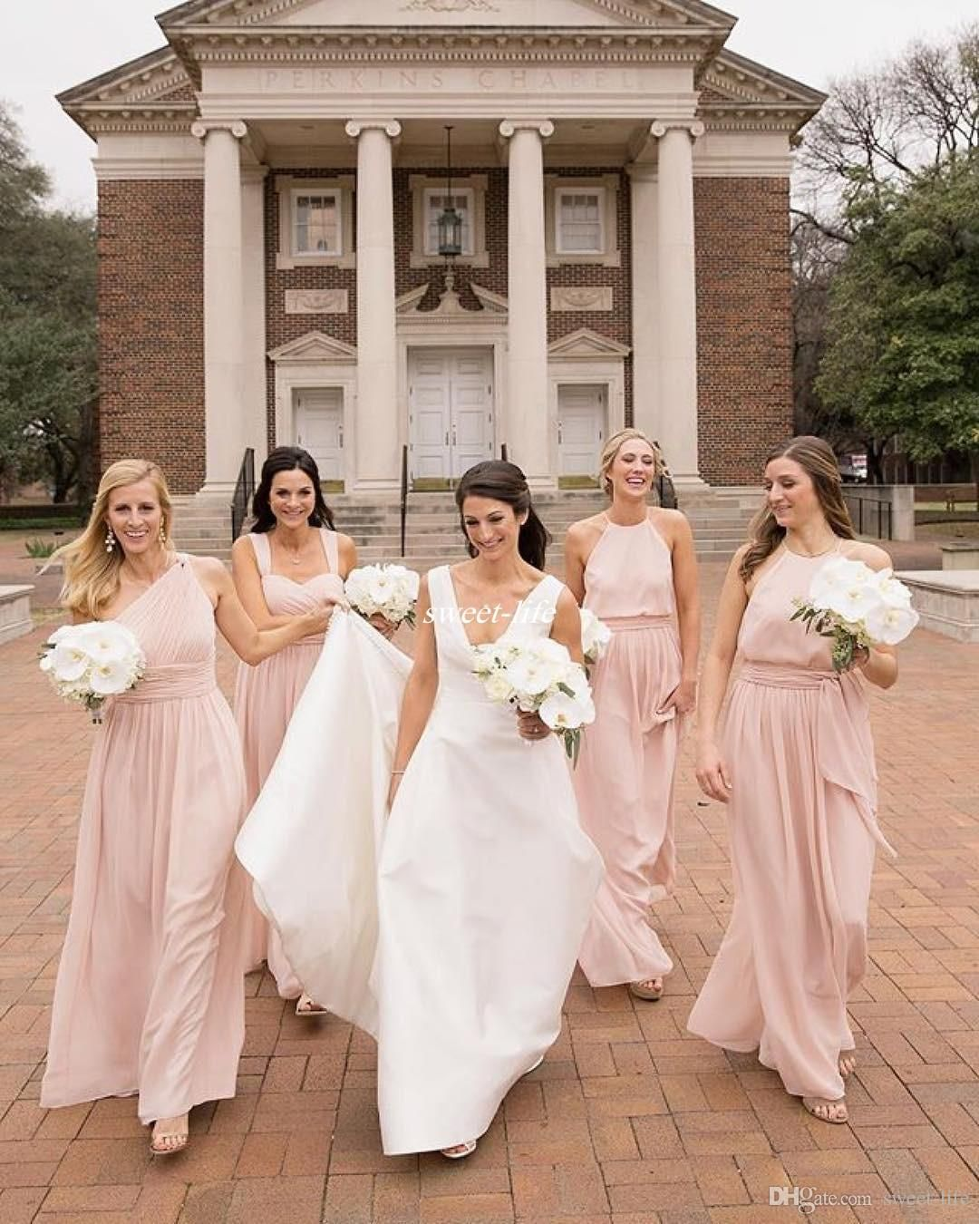 Mix match country wedding pink bridesmaid dresses a line chiffon mix match country wedding pink bridesmaid dresses a line chiffon halter neck 2017 cheap formal maid of honor party dresses gowns for guest ombrellifo Images