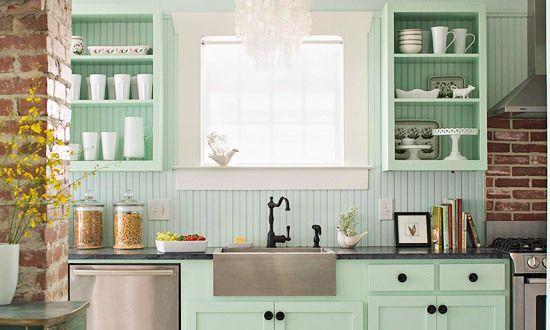 Küche Hellgrün interessante küchenidee für vintage küche in hellgrün und weiß
