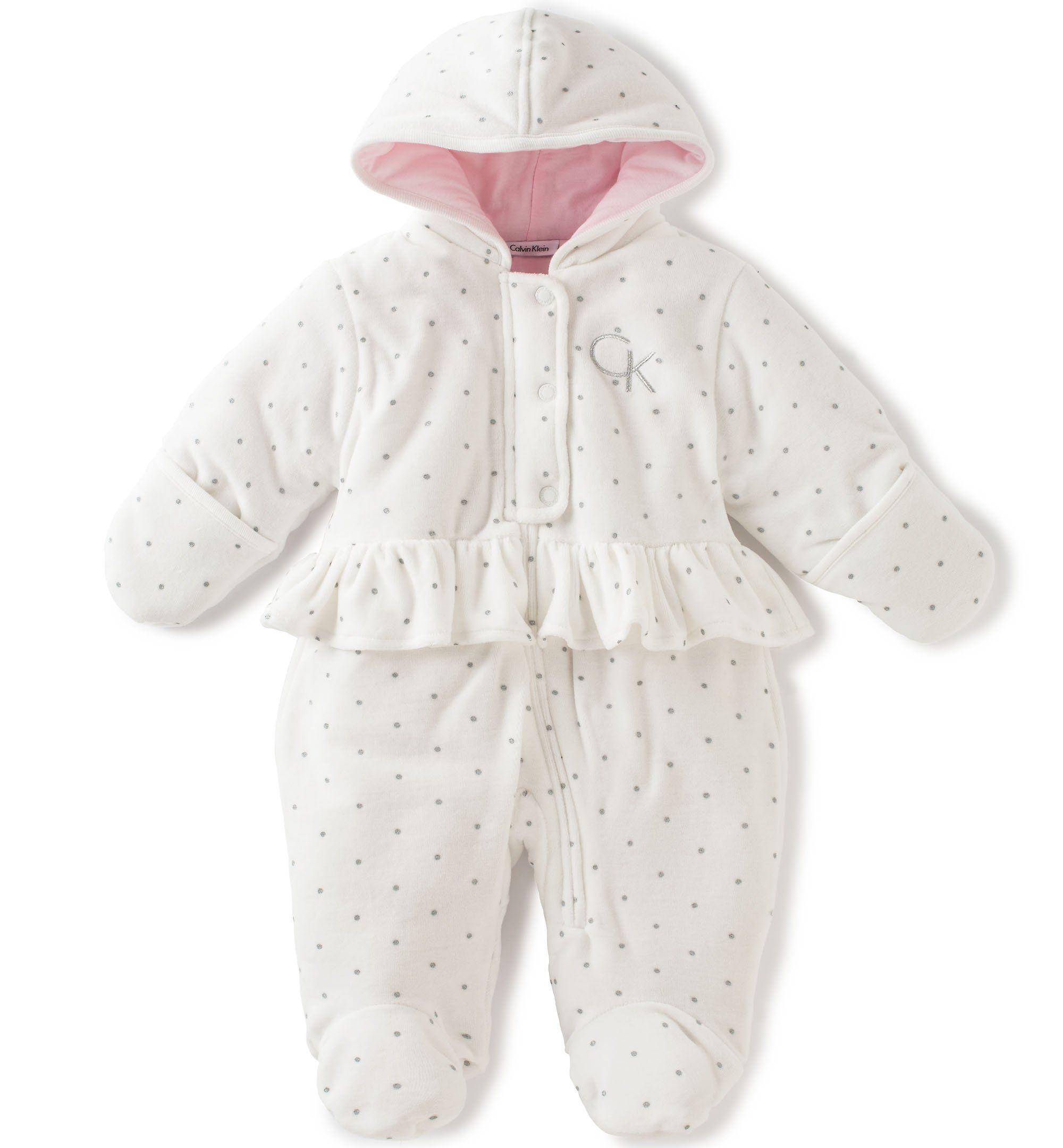 Calvin Klein Baby Girls Hooded Velour Pram Vanilla 3 6 Months