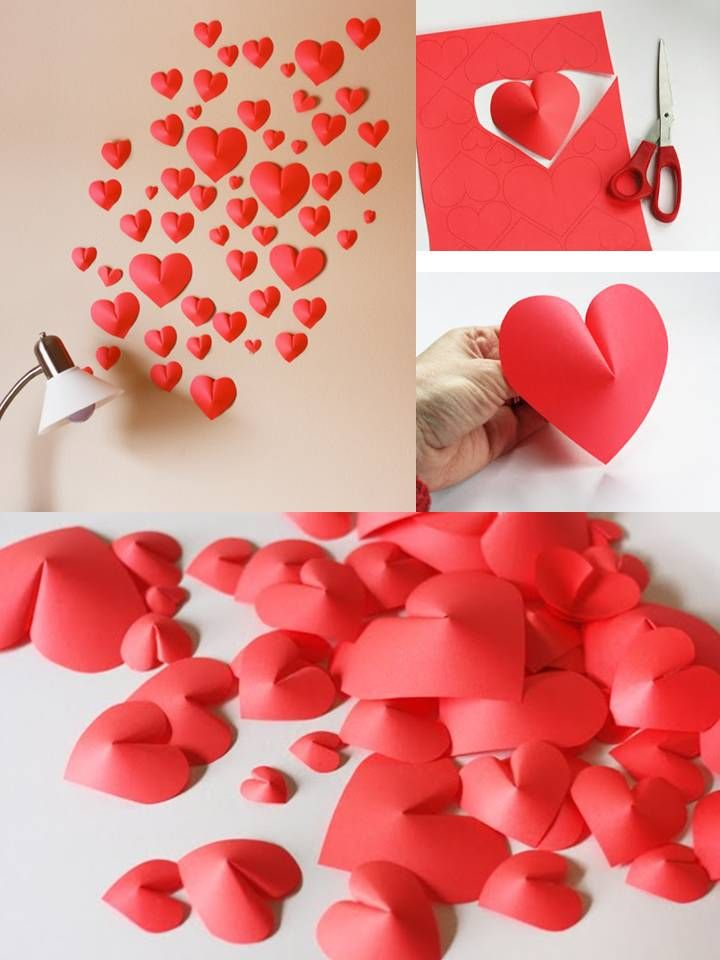 These would be pretty in your colors sprinkled on tables!  DIY 3D - Paper Hearts  Super Easy