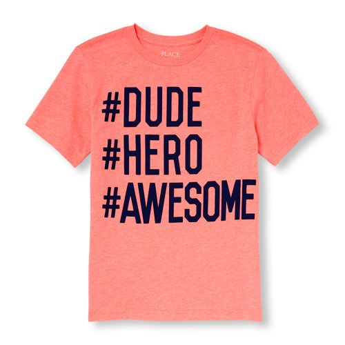 0d15220c2 s Boys Short Sleeve 'Hashtag Dude Hero Awesome' Neon Graphic Tee - Orange T- Shirt - The Children's Place