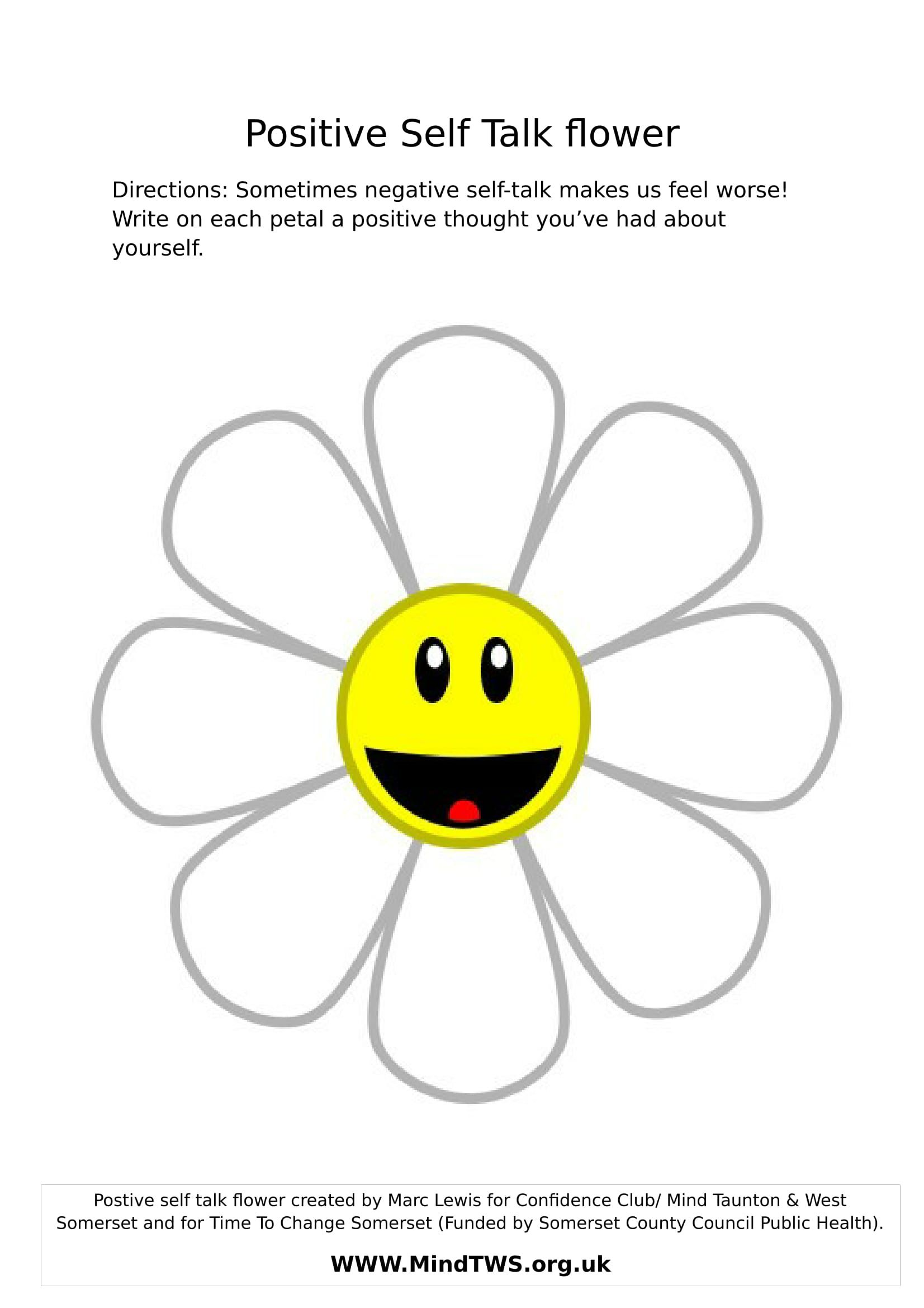 Positive Self Talk Flower With Images