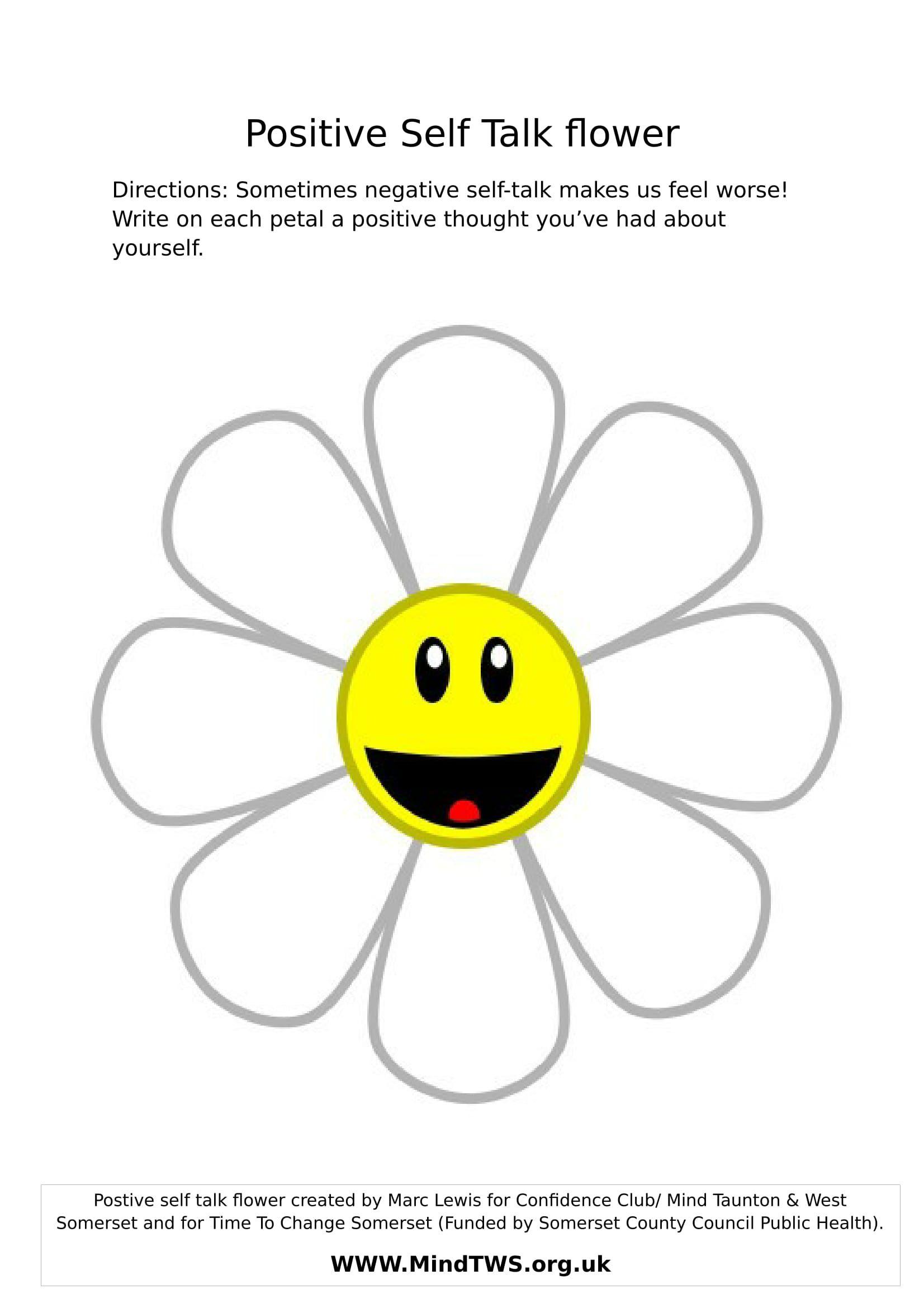 Positive Self Talk Flower Positive Self Talk Self Esteem Activities Self Talk [ 2339 x 1653 Pixel ]