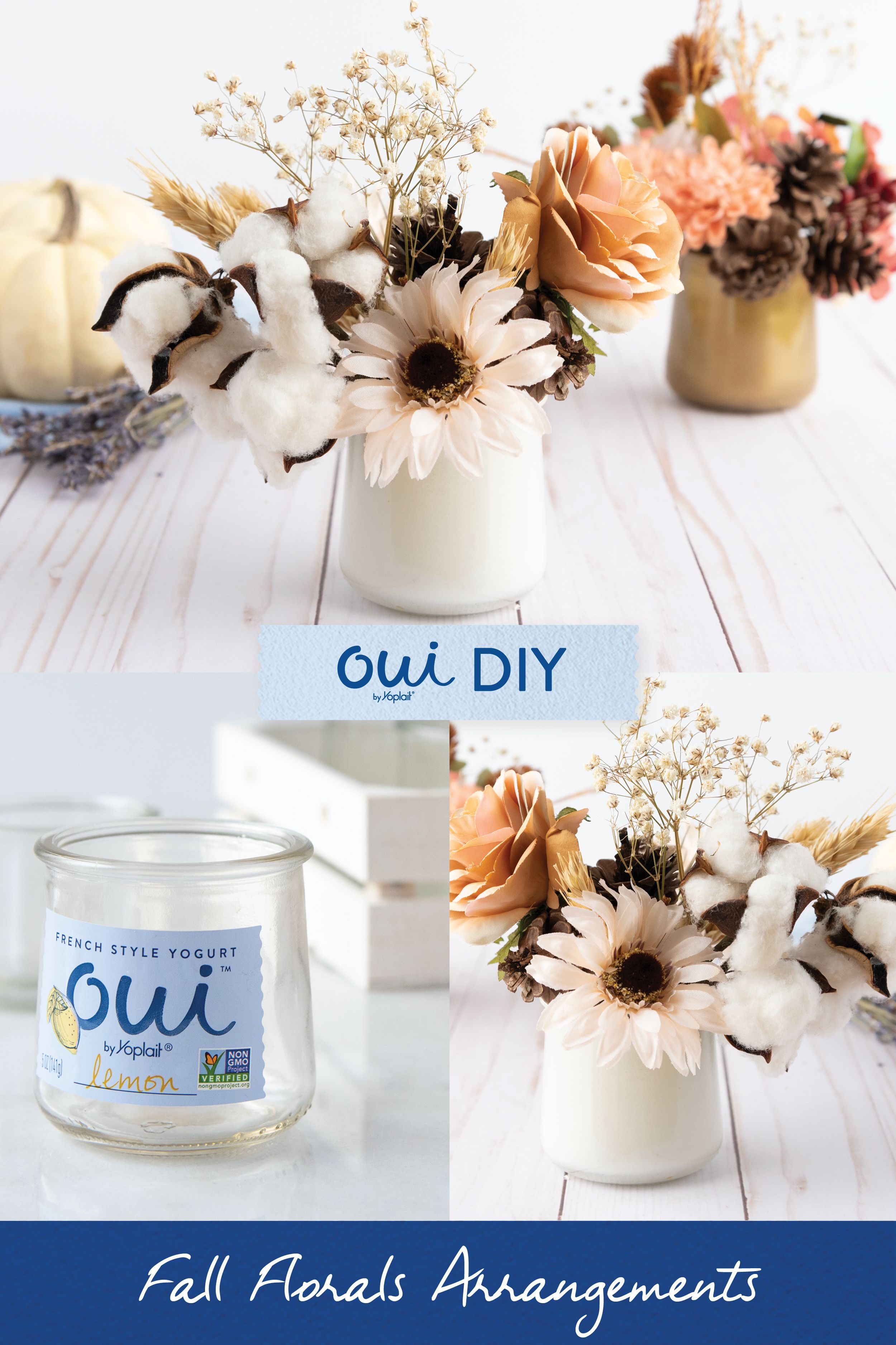 Diy Reuse Oui Glass Pots Flowers Diy Crafts For Home Decor Jar Crafts Crafts