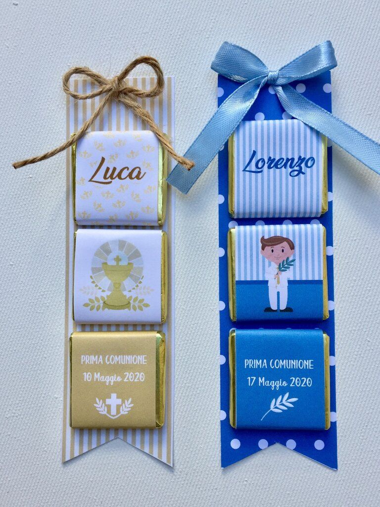 Cioccolatinii Personalizzati Segnaposto Comunione Comunione Festa Per La Prima Comunione Feste Di Nascita