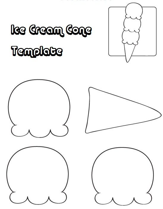 Ice Cram Cone Template Coloring Pages Cone Template Coloring Pages Summer Coloring Pages