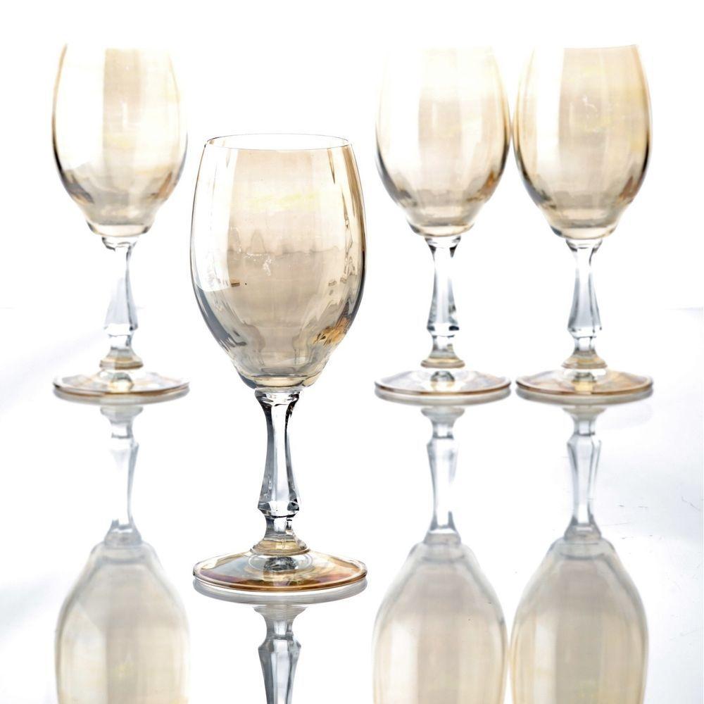 Weißweingläser 4 vintage weingläser weißweingläser glas irisierend gelb kuppa