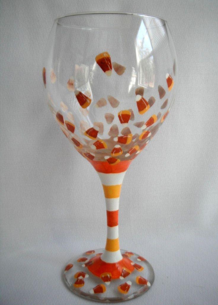 Glass Paint Ideas Cute Wine Glass Candy Corn Set Of 2 Glass Painting Ideas Halloween Wine Glass Wine Glass Crafts Painted Wine Glass