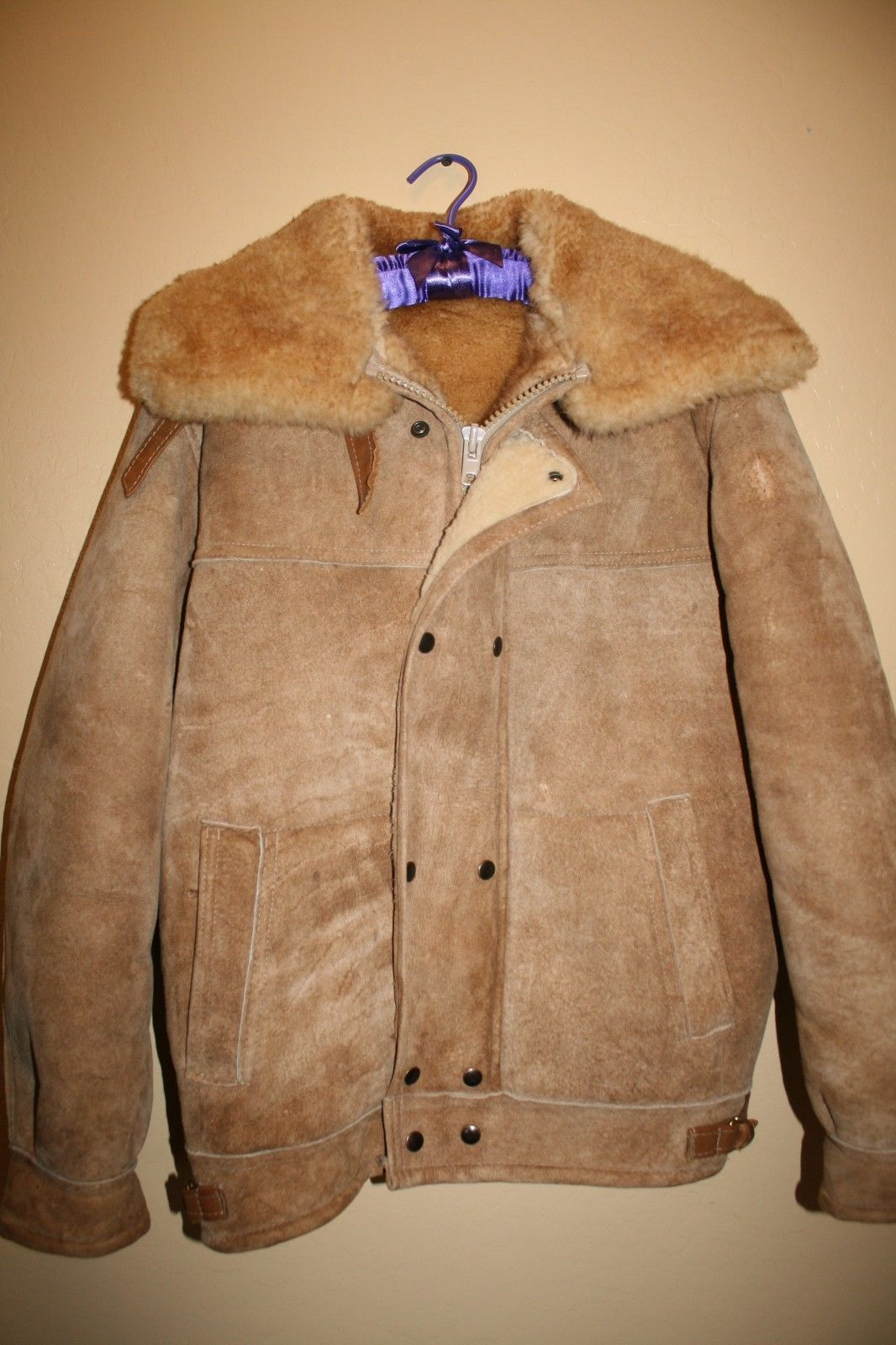 Vtg Overland Sheepskin Co Shearling Leather Suede Coat Jacket ...