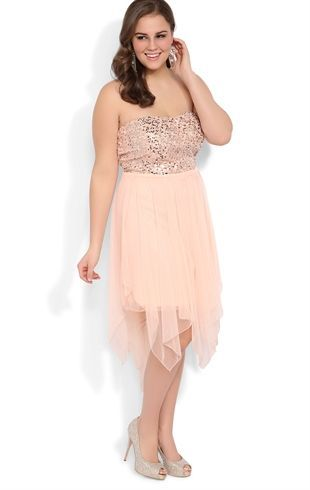 Deb Shops Plus Size Strapless Sequin Short #Prom #Dress with Uneven Hanky Hem $74.90