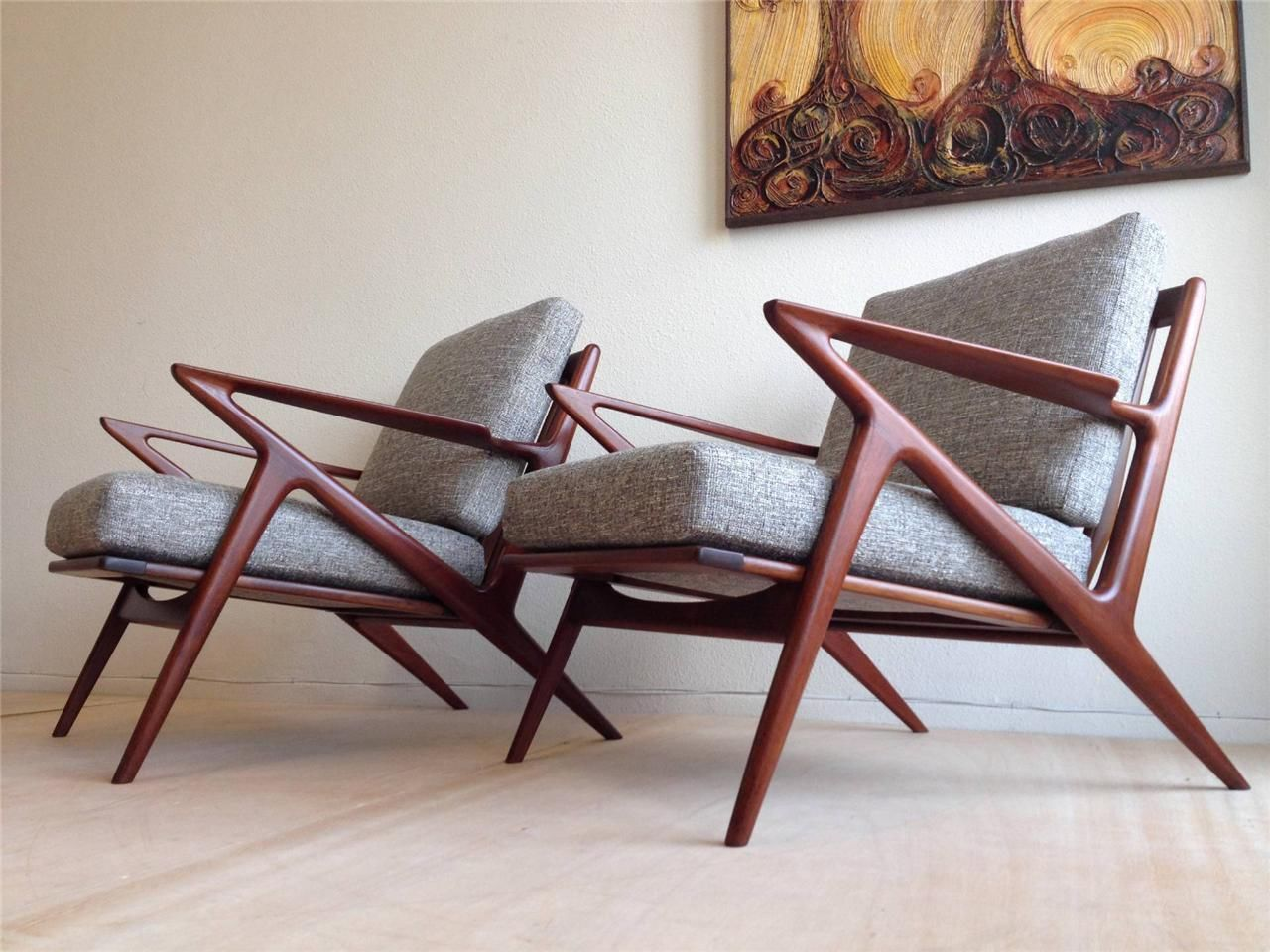 Pair of danish mid century modern teak lounge chairs poul for Z chair mid century