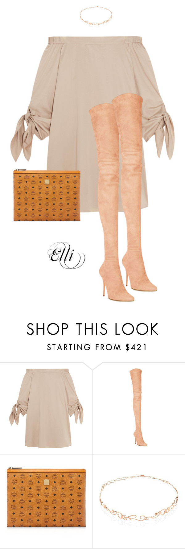 """""""Nudes"""" by elli-skouf ❤ liked on Polyvore featuring TIBI, Balmain, MCM, Diane Kordas, Nudes, summer2016 and PVHint"""