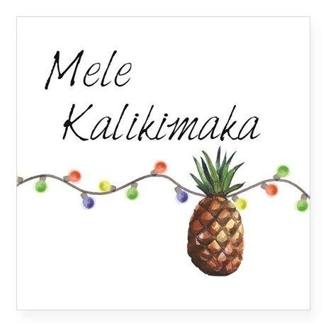 Mele Kalikimaka Christmas Cards.Mele Kalikimaka Hawaiian Christmas Square Sticker 3 X 3