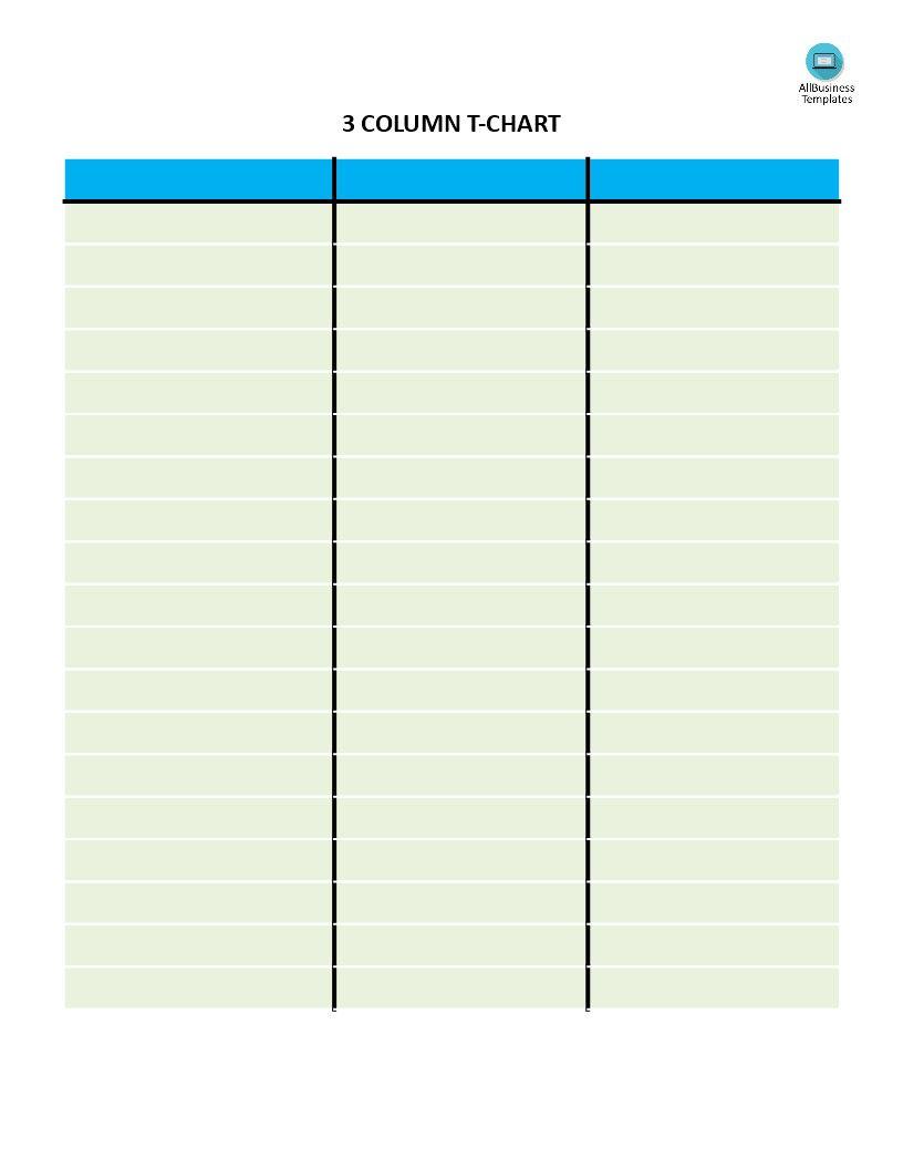 3 Column Chart Template Elegant Free T Chart With 3 Columns Word Template Best Templates Professional Templates