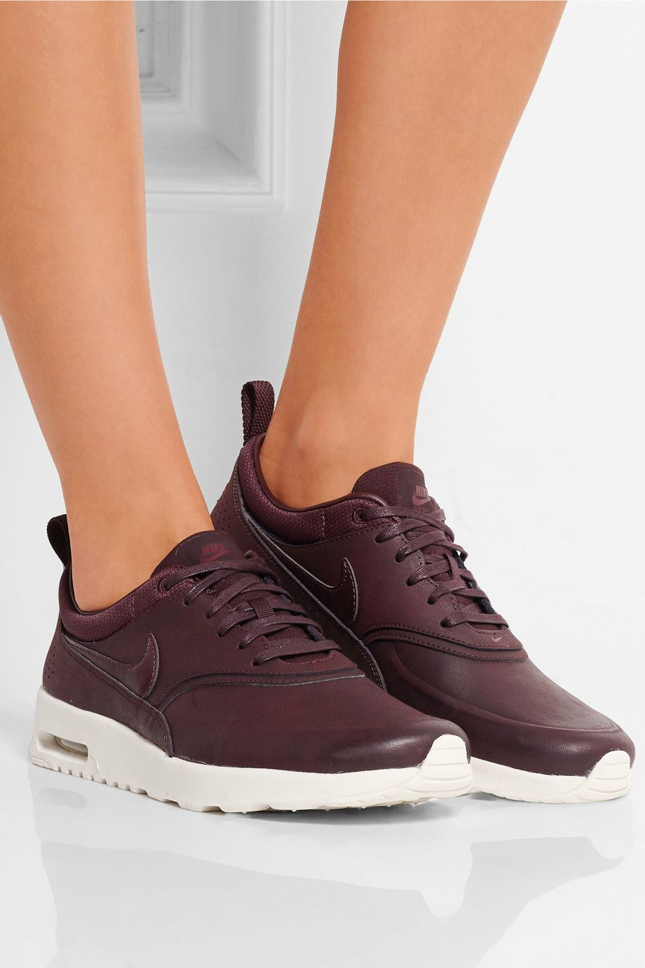 air max thea premium leather sneakers burgundy jordans