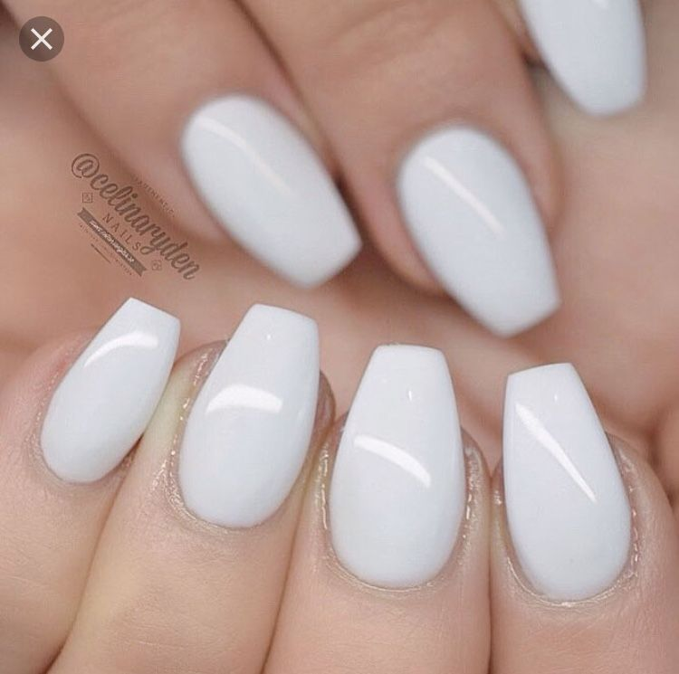 Short White Coffin Nails White Acrylic Nails Coffin Shape Nails White Coffin Nails