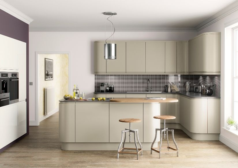 Lucente olive painted handleless kitchen the leicester kitchen co