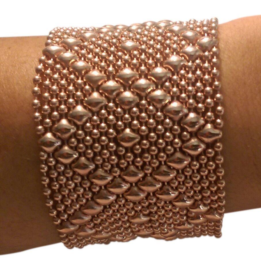 Sg Liquid Metal By Sergio Gutierrez Intrinsic Diamond 24k Rose Gold Mesh Cuff