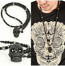 Super Unique Cubic Black Skull Pendant Beads Necklace Black skulls