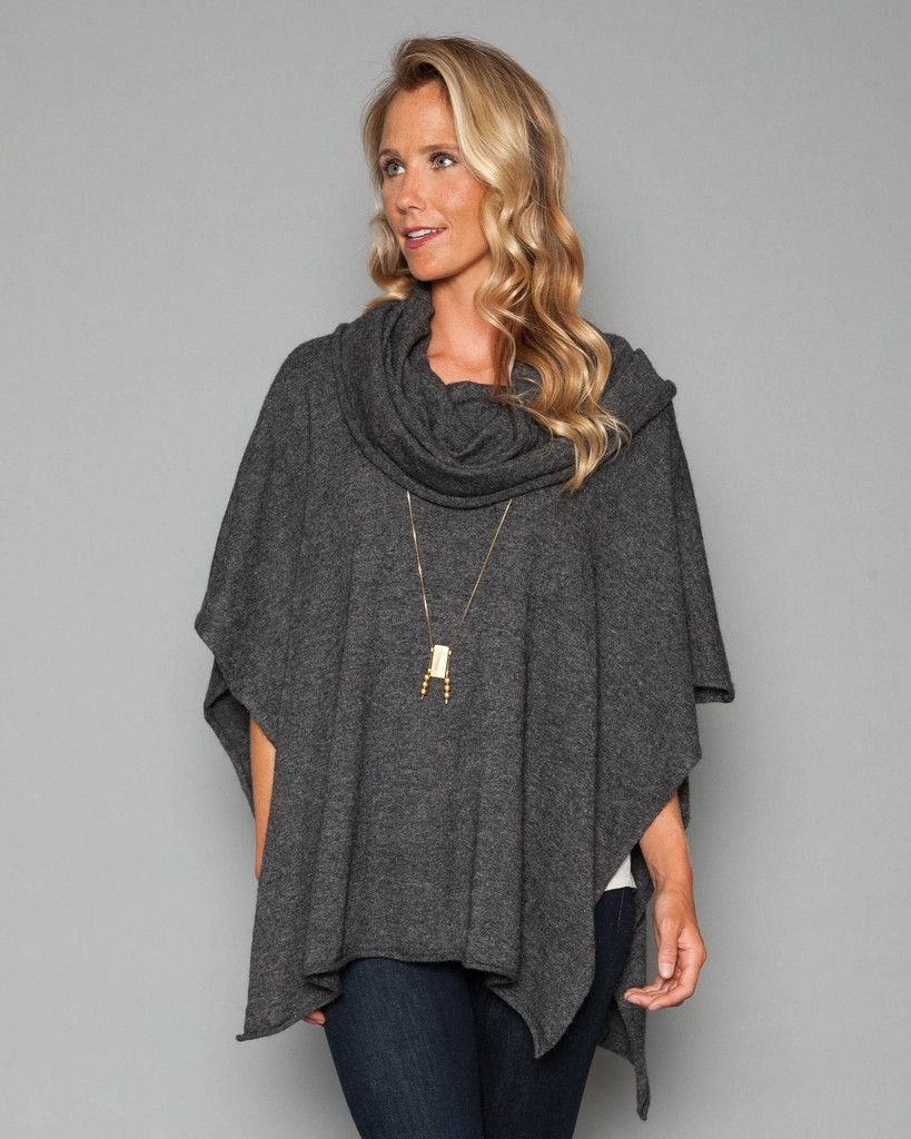 51W02CS-BLACK Organic Heather Sweater Cowl Neck Poncho Model is ...