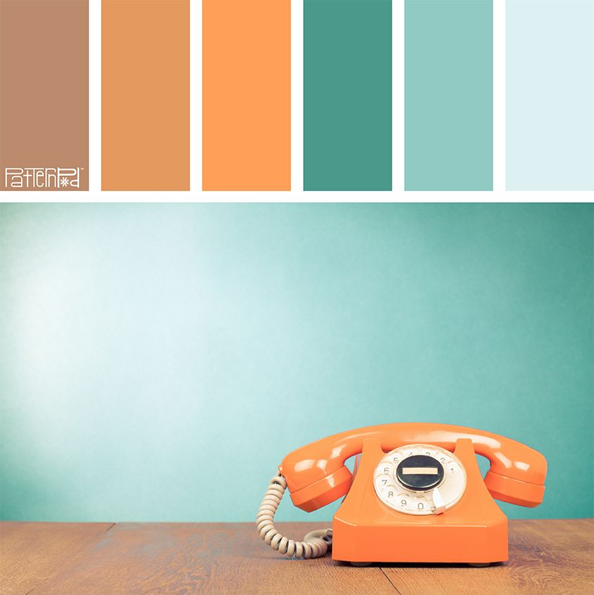 Color Palette: Tan, Orange and Turquoise. If you like our
