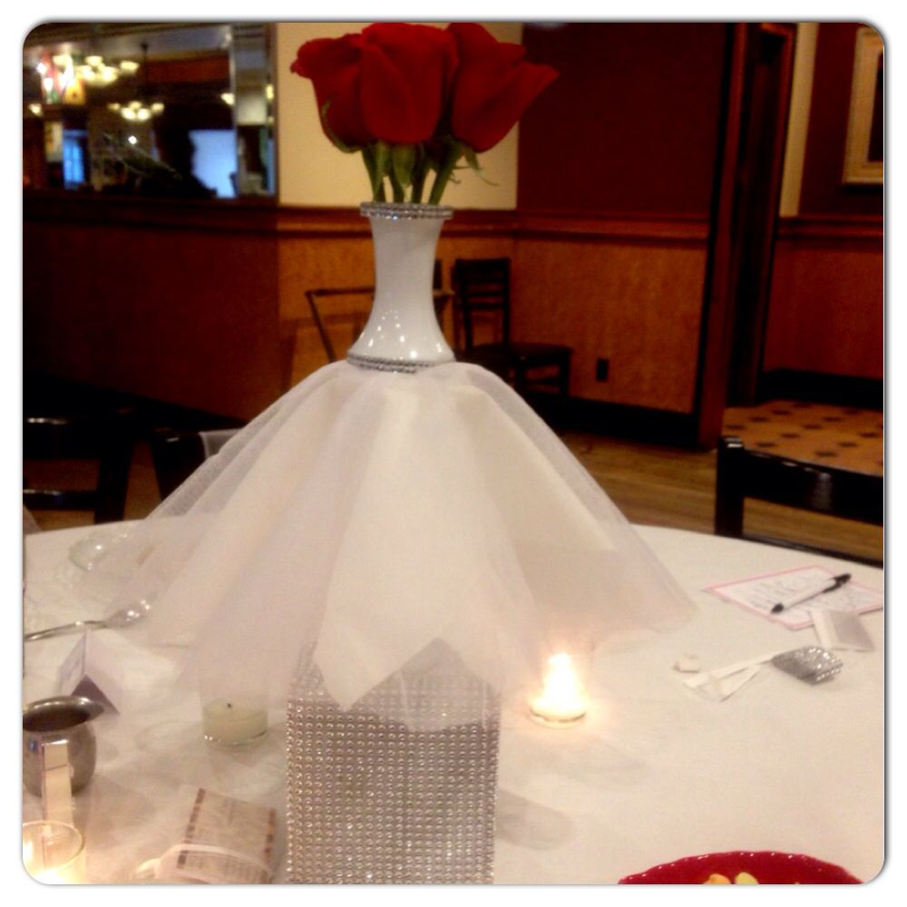 Diy vase wedding dress center piece you may now kiss the for Wedding dress vase centerpiece