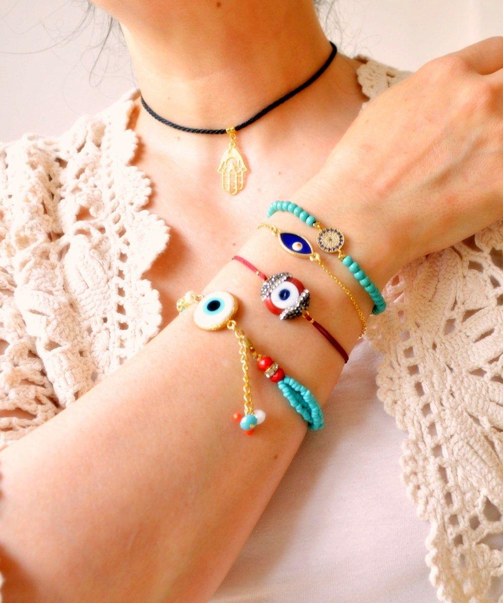 amulet bracelet Turkish pink nazar bracelet Bohemian evil eye bracelet