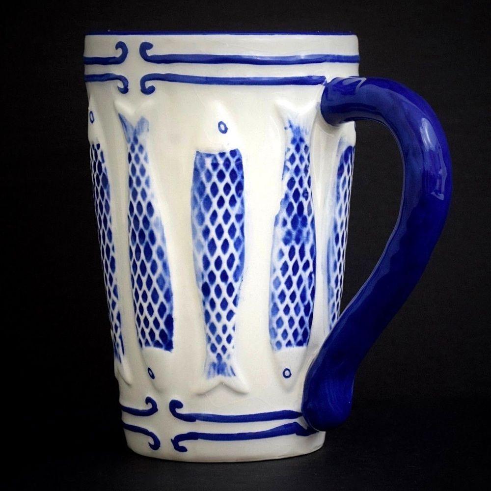 Details About Mud Pie Mug Fish Blue White Coffee Tea Large