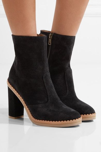 ddf26e841699a See By Chloé - Scalloped suede ankle boots. Heel measures approximately  100mm  4 inches Black suede Zip fastening along side Imported
