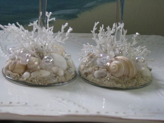 Beach Wedding Seashell Coral Champagne by CeShoreTreasures on Etsy