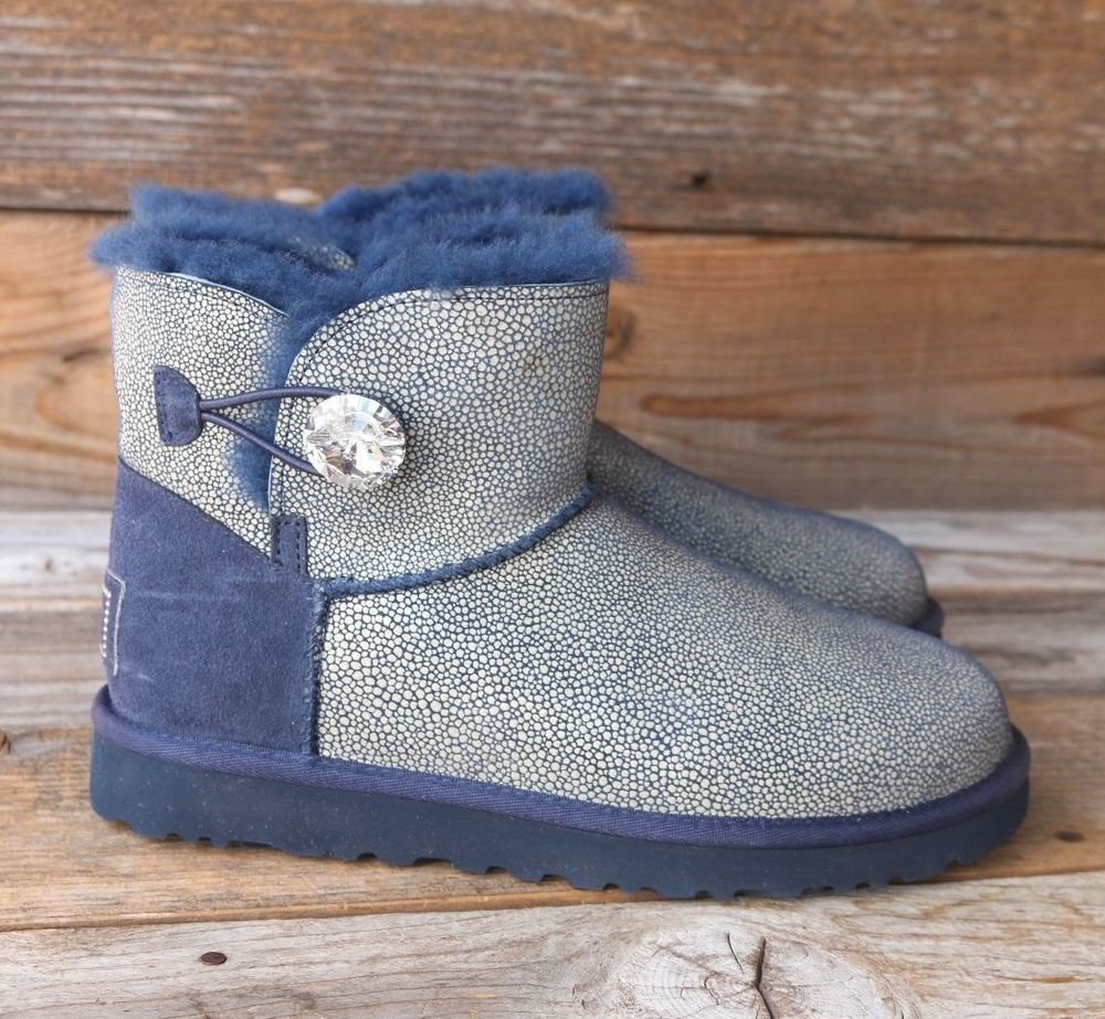 47d0b427837 UGG Australia Mini Sting Peacoat Bling Bailey Button Swarovski Boots ...
