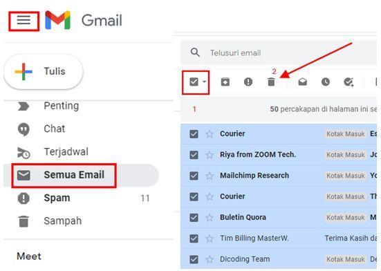 Cara Menghapus Pesan Email Di Gmail Sekaligus Lewat Laptop / PC