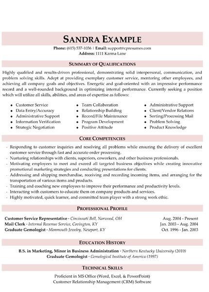 Customer Service Resume Resume Tips Pinterest Customer - summary on resume examples