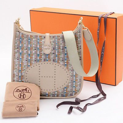 be961184418c Authentic-HERMES-Beige-Leather-Evelyn-PM-Vibrato-Shoulder-Bag-from-Japan