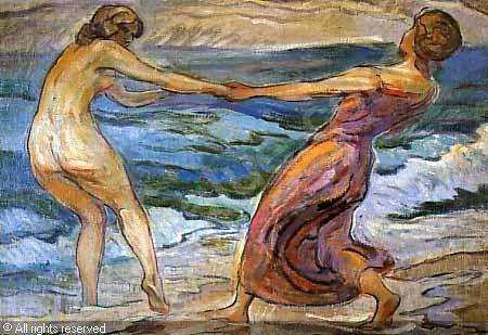 Paul Schad-Rossa, Zwei tanzende Mädchen am Meer, um 1914, Öl auf Leinwand, Verbleib unbekannt