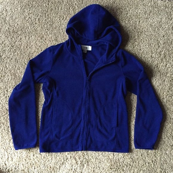 Zip-up Hoodie Royal blue in color. 100% polyester. Very soft and comfortable. Size large but fits more like a relaxed medium. Hardly worn, great condition! Forever 21 Jackets & Coats