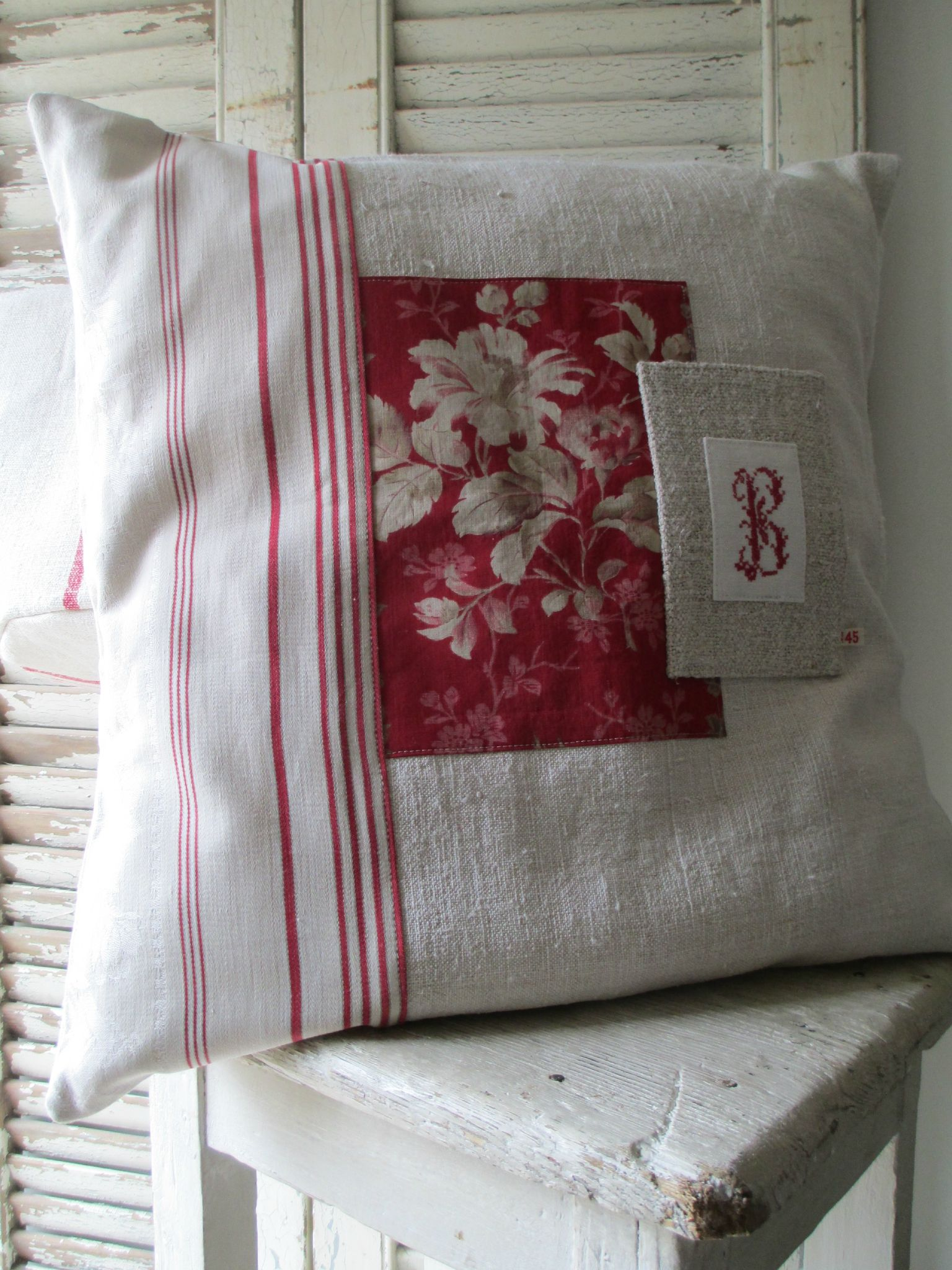 patchwork pillow cover with embroidered monogram  sewing