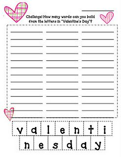 Free!! Valentines day printable!! How many words can you make ...